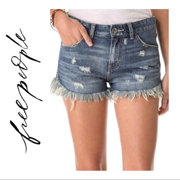 Free People Dolphin Cutoff Distressed Shorts